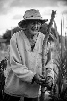 Senhor de idade trabalhando em sua pequena lavoura no litoral Sul de Pernambuco